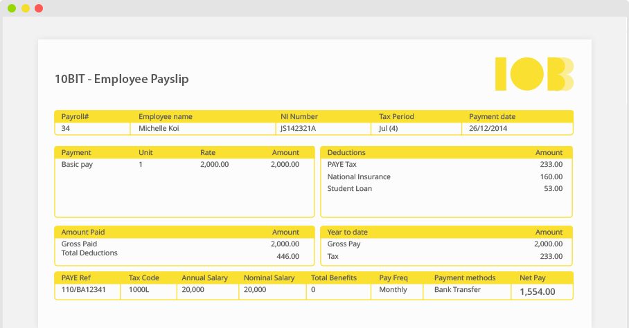 Online Payroll Software Payroll Software – Online Payslip Template