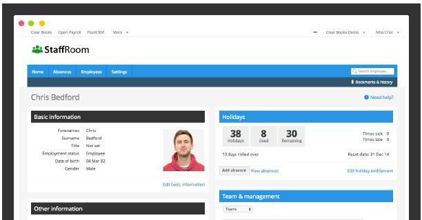 Staff Room Dashboard Screenshot