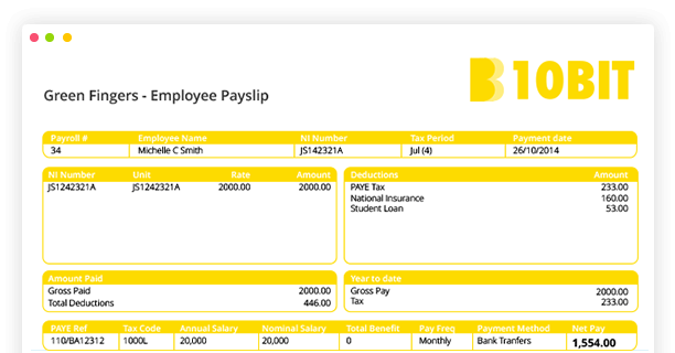 Example Of An Payroll Payslip