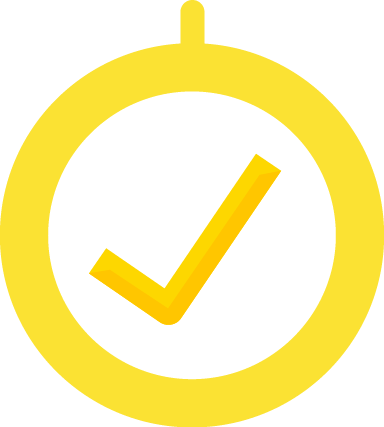 Yellow Tick Signifies Completion