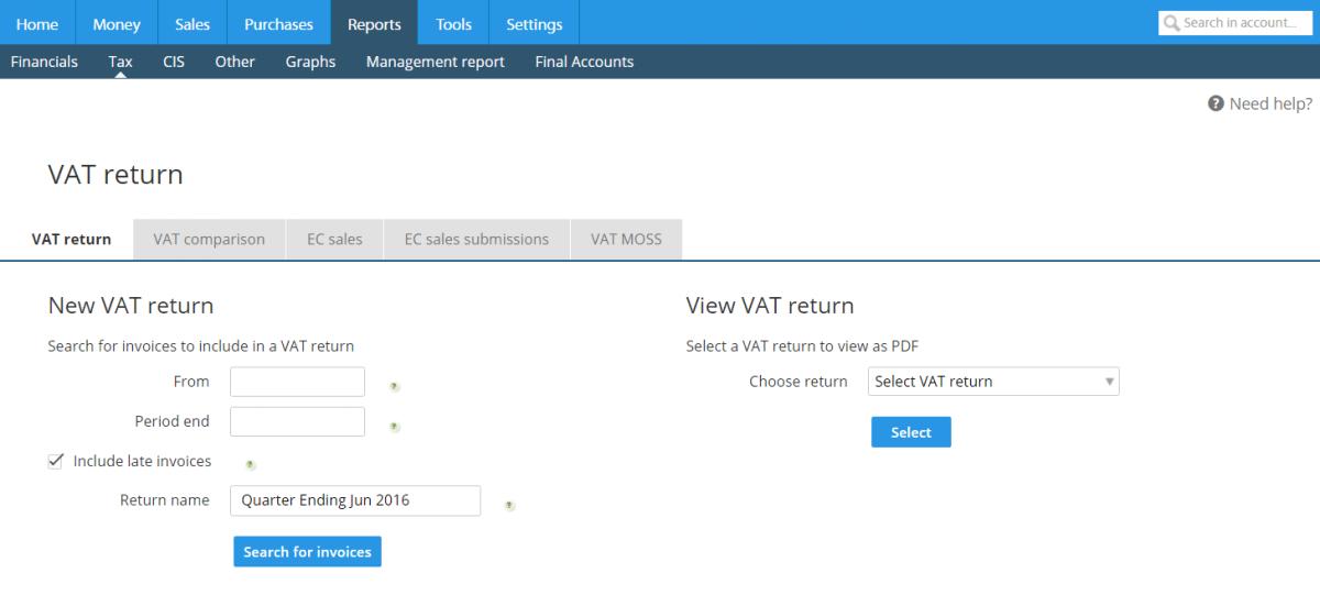 VAT reporting example