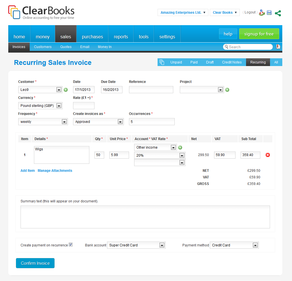 New features in clear books recurring payments and invoices and firstly we have now made it possible for you to automatically set up a recurring payment each time a recurring invoice or a bill is created reheart Choice Image