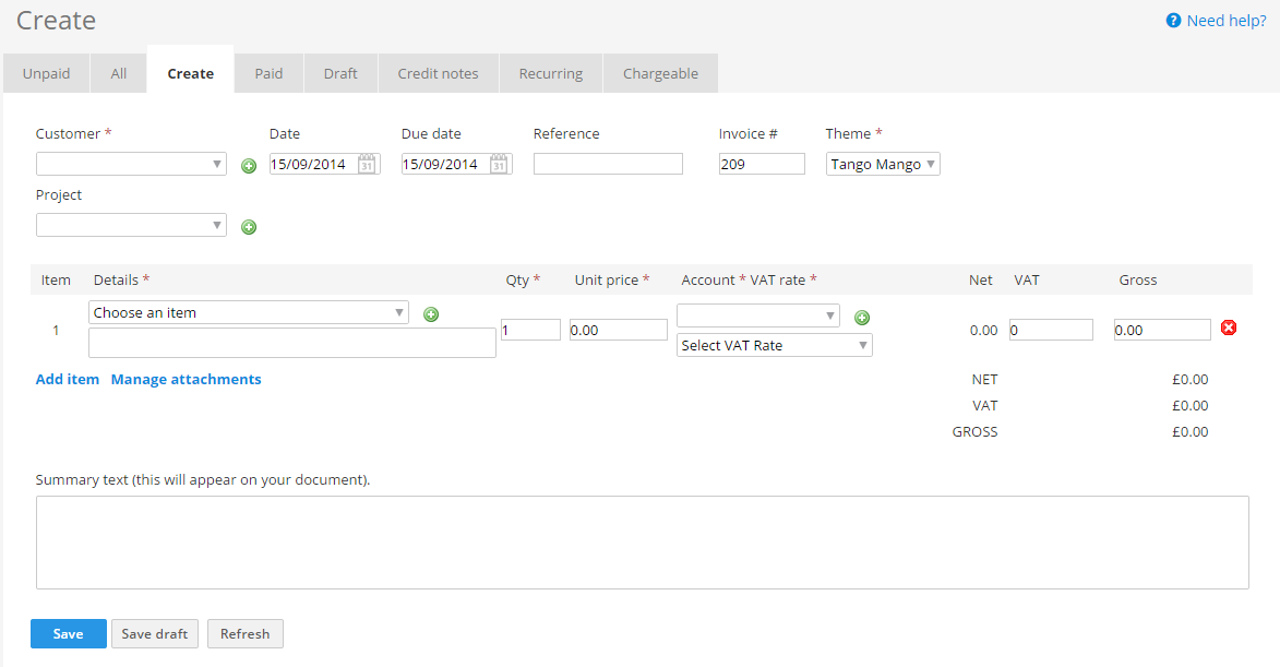 Support Guides » Invoices » How To Create An Invoice