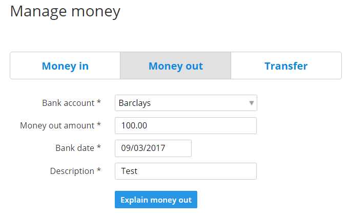 money out form