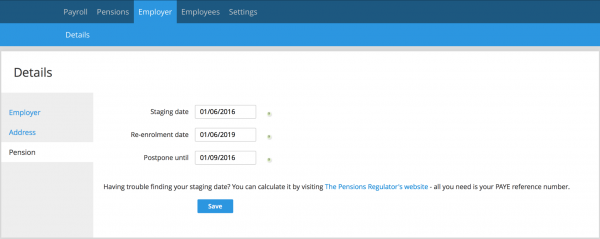 Add staging date to Clear Books Payroll