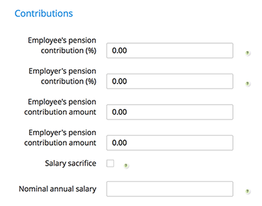 Pension details section of Clear Books Payroll
