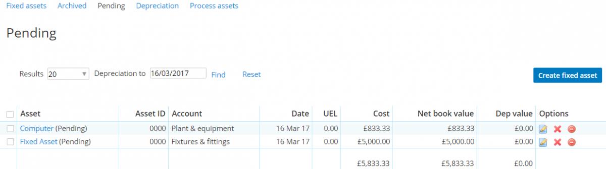 fixed asset pending assets